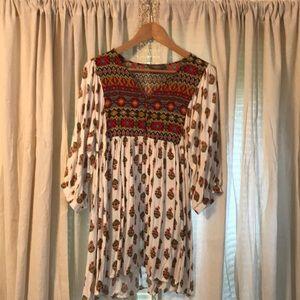 Tribal print mid sleeve dress.